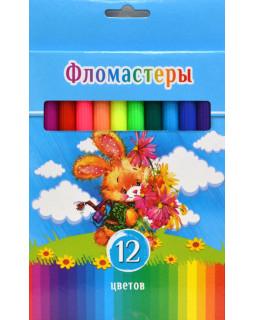 """Фломастеры """"BG"""" 12 цветов, """"Смешной зайчик"""" в коробке"""