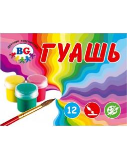 """Краски гуашевые 12 цветов 10мл BG """"Радуга"""" в картонной коробке"""