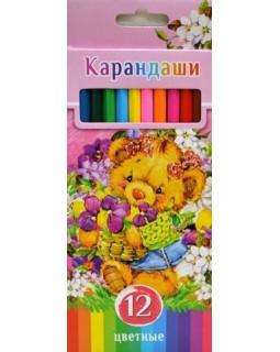 """Карандаши """"BG"""" 12 цветов """"Забавные пушистики""""с заточкой, в коробке"""