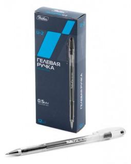 Ручка Hatber гелевая U-2 Черная 0,5мм с колпачком и клипом