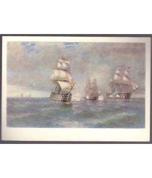 """И. К. Айвазовский. Бриг """"Меркурий"""", атакованный двумя турецкими кораблями (1892 г.)"""