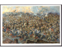 У подножья Малахова кургана - рукопашный бой за батарею Жерве. В центре на белом коне - генерал С. А. Хрулев