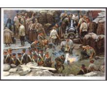 Матрос Т. Александров заливает водой готовую взорваться бомбу
